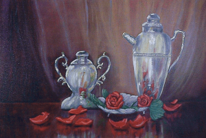 Silver and Roses, Oil Painting by Larry Contreras