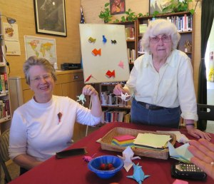 Origami: Star Reierson with Joyce Vandervere who gave a presentation on how to do Japanese Paper Folding at MPJC on 15 Aug 2015