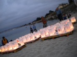 Peace Lanterns ready to be launched into the bay, at the Peace Lantern Ceremony in Pacific Grove's Lover's Point on 8 Aug 2015