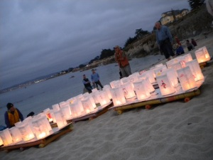 Peace Lanterns ready to be launched into the bay, at the Peace Lantern Ceremony in Pacific Grove's Lovers Point on 8 Aug 2015