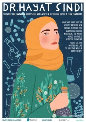 Dr. Hayat Sindi was born in Makkah, Saudi Arabia and is one of the world's leading biotechnologists. Artist: Lidia Tomashevskaya