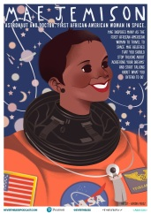 Mae C. Jemison is an American engineer, physician and NASA astronaut. She became the first African American woman to travel in space when she went into orbit aboard the Space Shuttle Endeavour on September 12, 1992. Artist: Karina Perez.
