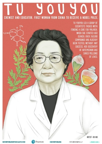 Tu Youyou is a Chinese pharmaceutical chemist and educator. She discovered artemisinin (also known as qinghaosu) and dihydroartemisinin, drugs used to treat malaria. Her discovery was a significant breakthrough in 20th-century tropical medicine, saving millions of lives around the world. Artist: Xu Hui.